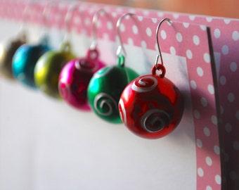 Ornament Earrings -- Christmas Ornament Earrings, Christmas Earrings, Xmas