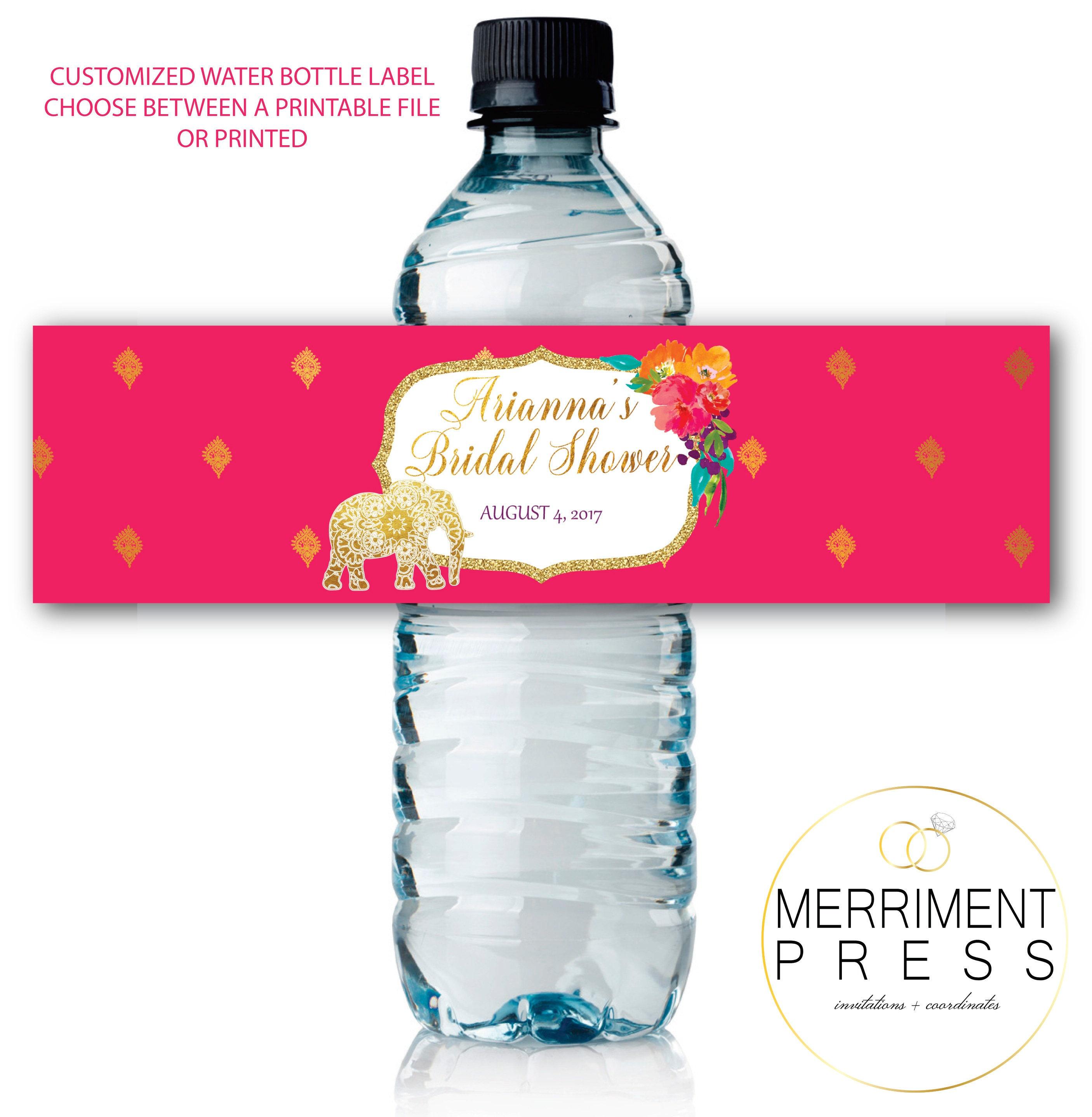 Water Bottle Kenya: Indian Themed Water Bottle Labels / Gold Elephant / Paisley