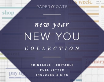New Year Planner Pack PDF, New Year Planning, Goal Setting Planner, Productivity Planner, Meal Planner, Fitness Journal, Monthly Goals PDF