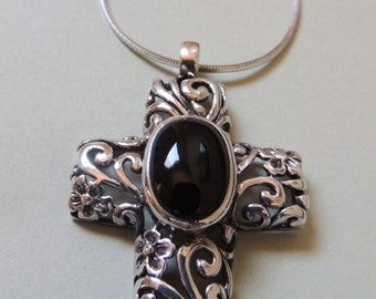 Sterling Silver Filigree and Onyx CROSS Pendant on a 16 inch snake chain