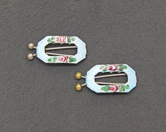 60's vintage hair barrette pair, PETITE cutout metal octagons w light blue enamel guilloche, hand-painted pink roses, pinch-wire clasp