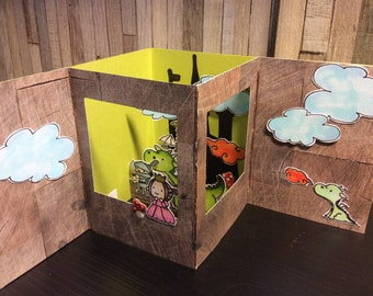 Boxkaart with Prince, Princess, and Dragons