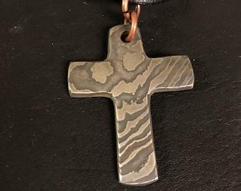 Bandsaw Damascus Cross Pendant