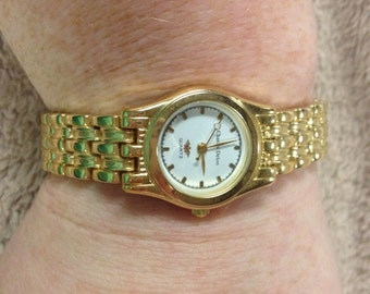 Vintage Charles Delon Goldtone Wrist Watch with New Battery