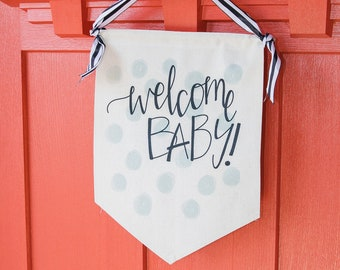 Welcome Baby Shower Canvas Banner, Baby Shower Decorations, Gender Reveal Party