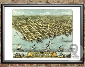 Sandusky, Ohio Art Print From 1870 - Digitally Restored Old Sandusky, OH Map - Perfect For Fans Of Ohio History