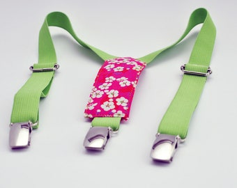 Green kids elastic straps and Liberty Mitsi Red