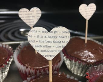 30 heart book text cupcake toppers