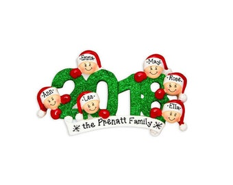 6 Family Members 2018 Ornament / Personalized Christmas Ornament / Friends Ornament / Brothers / Sisters / Hand Personalized