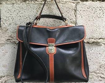 Vintage Bag/ 90s/ genuine leather/ black and brown/ model folder/ removable shoulder strap/ lined/ inside zip