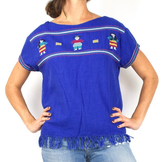 Vintage 80s 90s Blue Linen Fringe Guatemalan Blouse with Embroidered People (size medium, large)