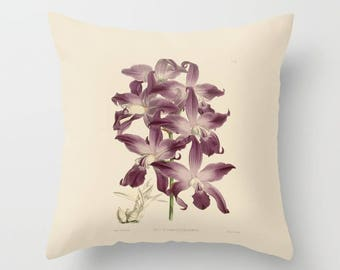 Decorative Throw Pillow with insert, Indoor, Outdoor, Orchid, Flower, Accent, Gift, Beige, Purple, Green, Vintage, Illustration, Botanical