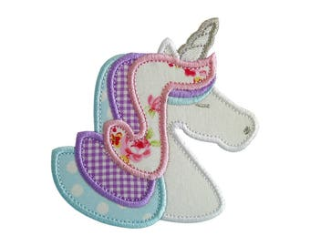 """Unicorn Applique Machine Embroidery Design Patterns in 3 sizes 4"""", 5"""" and 6"""" magical rainbow pony."""
