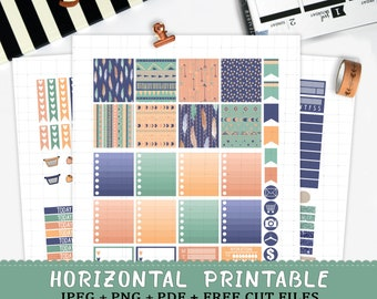 Horizontal Tribal Feathers printable planner stickers for Erin Condren LifePlannerTM cut files watercolor feathers pastel weekly spring kit