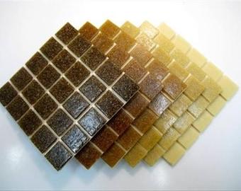 Mosaic Tiles Mixed 2cm x 2cm x 4mm thick. Coffee Blend 150 Tile Mix