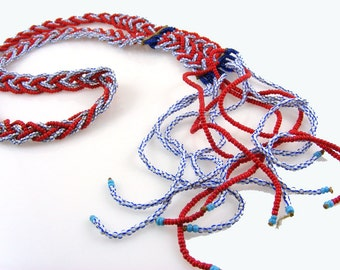 Vintage Native American Seed Bead Braided Necklace with Fringe Tassel Red White Blue Tribal Ceremonial Lariat