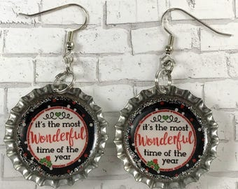 Christmas Jewelry, Christmas Earrings, Wonderful Time of the Year, Holiday Jewelry, Christmas Tree, Bottle Cap Earrings, Stocking Stuffer