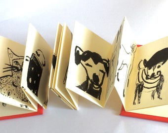 Cat/Dog Miniature Concertina books - Hardback - artists book -miniature - pocket sized