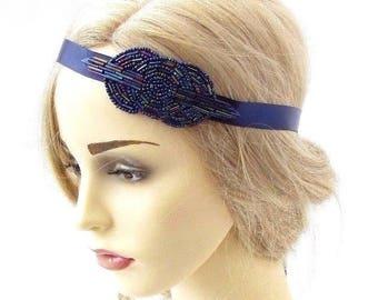 Navy Blue Beaded Headband Headpiece Vintage 1920s Great Gatsby Flapper 3404