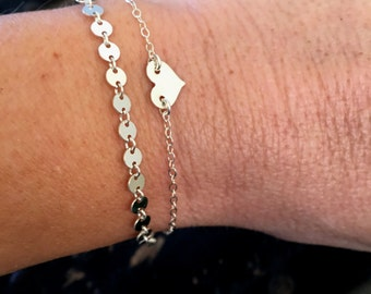 Sterling Silver Coin Bracelet, Silver Dotted Chain Bracelet, Gold Filled Coin Bracelet, Gold Filled Dotted Chain Bracelet, Bohemian Bracelet
