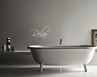 Relax Bathroom  vinyl decal wall art decor removable