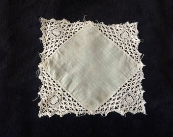Lace Handkerchief, Bridal Handkerchief, White Handkerchief, Vintage Handkerchief, Vintage Lace, Something Old, Bridal Gift.