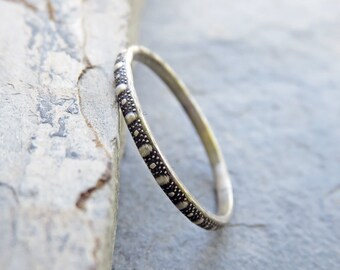 Single Antiqued Sterling Silver Dotted Stacking Ring - Thin Textured Silver Band - Patterned Stacking Ring - Oxidized Silver Stacker
