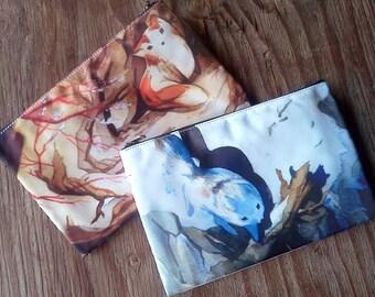 Summer & Winter Sister Fox Kitsune Zipper Bag (One Bag, the Bag is Double Sided)