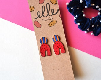 Geometric Earrings | Handmade Illustrated earrings in Grafik