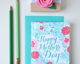 Mother's Day Card Floral, Blue and Pink, Pretty, Floral, Stationery, Hand Drawn, Illustration, Flowers, Flora, Notecards
