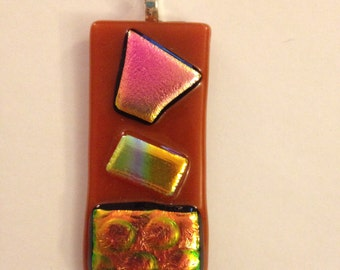 Long Orange and Multicolored Glass Necklace Pendant
