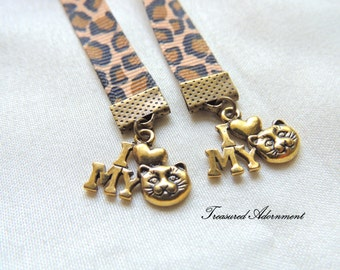Bookmark, Cat Bookmark, Antiqued Brass charms Leopard Animal Print Ribbon Bookmark, Gift for Book lover, Cat Lover, Bookworm, I love my cat