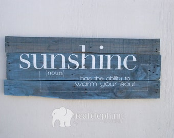 """SALE - In-Stock - Pallet Art Definition """"Sunshine"""" Home Wall Hanging - Rustic Shabby Chic Nautical Beach Seaglass Seafoam"""