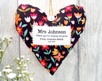 Thank You Teacher Gift - Show your Teacher Some Appreciation with this Personalised Heart Made in Your Choice of Fabric. Supplied Gift Boxed