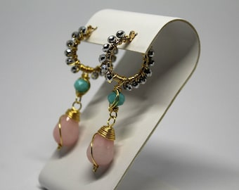 gold plated 20mmwirework beaded pink agata