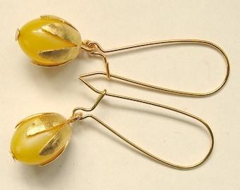Yellow Lucite Moonglow Long Drop Earrings