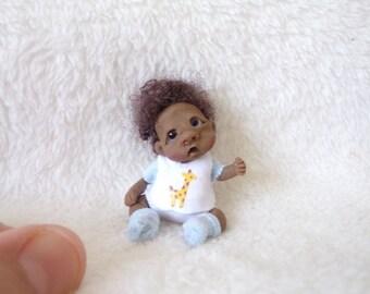 One of a kind doll, 1:12 scale, handmade baby boy, dollhouse,polymer clay,  artist Doll