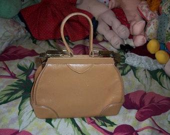 Vintage 1950's Paristyle Tan Snakeskin Pattern Leather Bag with Brass Locks