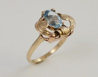 10k Yellow Gold Topaz Antique Ring Size 4.75