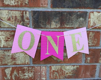 Pink High Chair banner, One banner, Pink high chair, 1st Birthday, Pink birthday high chair, Pink birthday banner, HimaniWorks