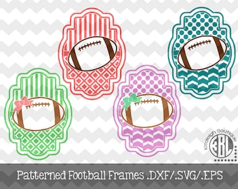 Football Patterned Frame design INSTANT DOWNLOAD in dxf/svg/eps for use with programs such as Silhouette Studio and Cricut Design Space