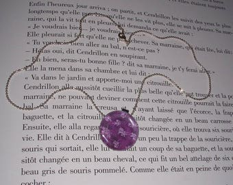 Necklace - silver color - flowers - Asia - purple