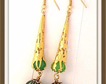 Handmade MWL long drop dangle earrings. 0035