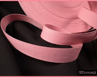5 yards Cotton Twill Tape trim / Rose pink 3/4 inch