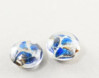 Artisan Lampwork Coin Beads, Clear Blue Bown Beads, 12mm Glass Coin, Pair, Set