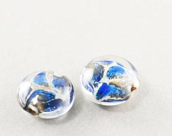 Perles Lampwork pièce artisan, Bown bleu clair, pièce de verre de 12mm, paire, ensemble