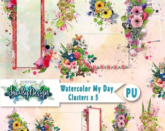 Digital Scrapbooking Clusters set of 5 WATERCOLOR MY DAY premade embellishment png clusters to make immediate scrap page