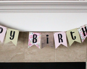 Happy Birthday Banner / Sage & Pink / Vintage Flowers / Wood / Pink/White Stripes / Girl Birthday / Birthday Party Decorations