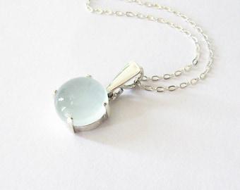 Pale Aqua Blue Chalcedony Gemstone Pendant in Sterling Silver, 10mm Pastel Blue Gemstone Cabochon Necklace, Modern Minimalist Style