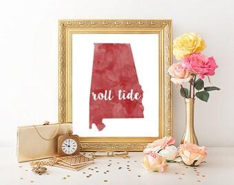 University of Alabama Roll Tide Watercolor Printable (8x10)
